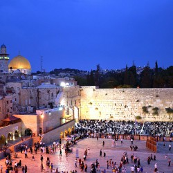 A view at nights of the Western Wall