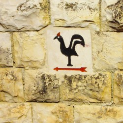 Rooster this way sign
