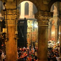 Enjoying the inside of the Church of the Holy Sepulcher