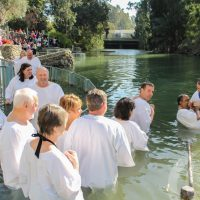 Waiting in line to get baptized