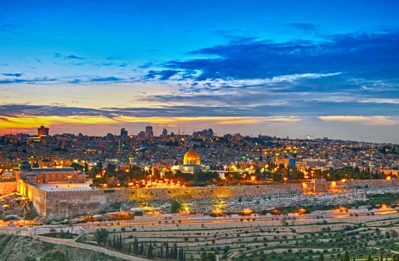 A view at night in Jerusalem