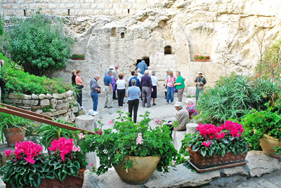 One of our groups entering the Garden Tomb known by some as the possible site of the resurrection of Jesus.