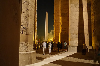 A photo at night in the Luxor area