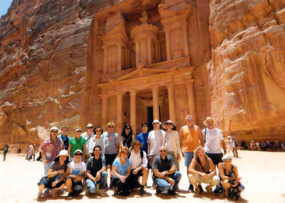 Petra contains tombs and temples carved into pink sandstone cliffs