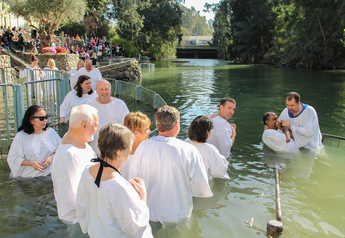 A baptism in the Jordan River
