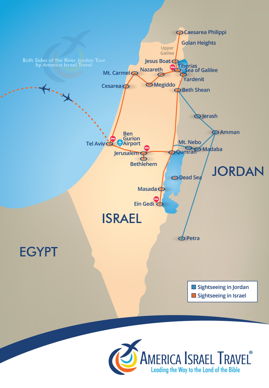 Both Sides Of The River Jordan America Israel Tours - Map of egypt israel jordan