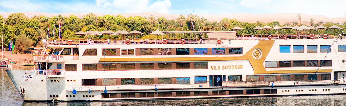 The luxury cruise will guide you historical sites along the Nile River.