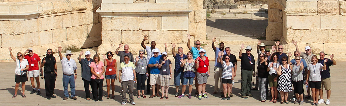 A wide shot of group visiting Beit Shean
