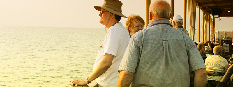 Group visiting the Sea of Galilee